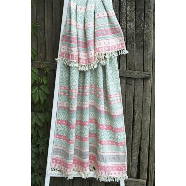 купить Полотенце Barine Pestemal - Morocco Sage-Pink Ментоловый фото