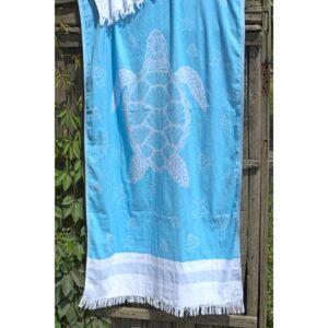 купить Полотенце Barine Pestemal - Turtle Mavi Голубой фото