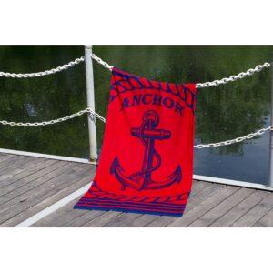 купить Полотенце Lotus пляжное - Anchor New велюр красный Красный фото