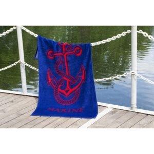 купить Полотенце Lotus пляжное - Anchor New велюр синий Синий фото