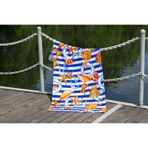 купить Полотенце Lotus пляжное - Shells велюр Синий фото
