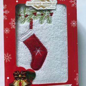 купить Полотенце Massimo Monelli махровое Рождественский носок 30*50 Белый фото