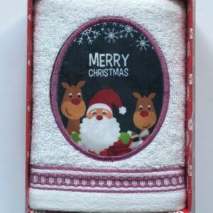 купить Полотенце Massimo Monelli махровое Санта и два оленя с кантом 40*60 Белый фото