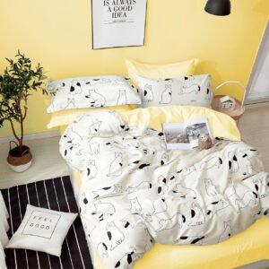 купить Постельное белье Bella Villa Сатин B-0255 Серый|Желтый фото