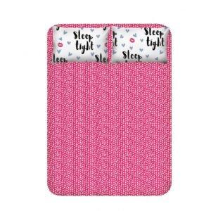 купить Простынь с наволочками Enlora Home - Sleep Tight fusya-beyaz Розовый фото