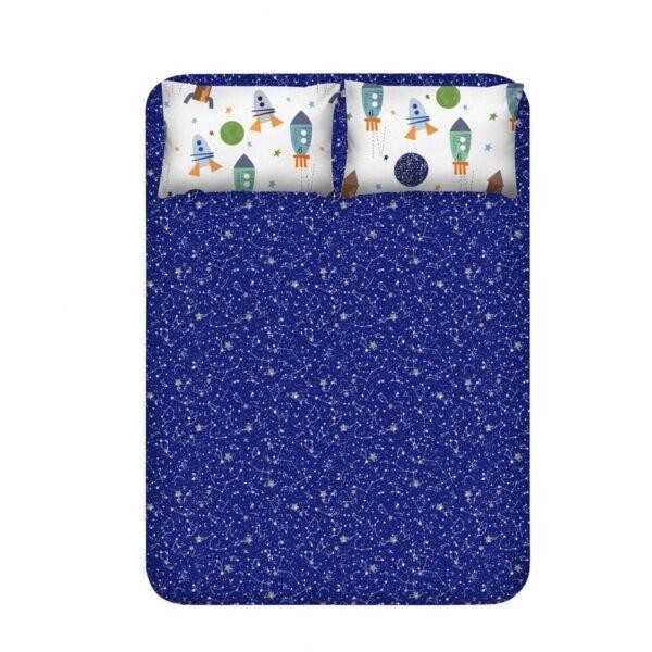 купить Простынь с наволочками Enlora Home - Spacex lacivert Синий фото