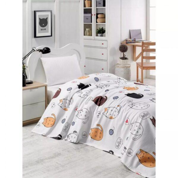 купить Покрывало пике Eponj Home - HelloCats Beyaz белый вафельное 160*235 Белый фото