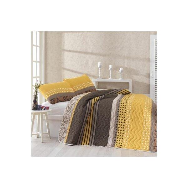 купить Покрывало стеганное с наволочкой Eponj Home - Miranda Sari желтый 160*220 Коричневый фото