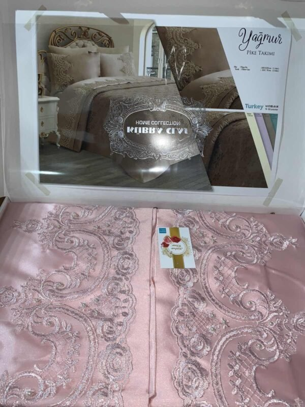 купить Покрывало с наволочками Kubra Class полиэстер Yagmur 240*250 Розовый Розовый фото