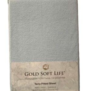 купить Простынь махровая на резинке Gold Soft Life Terry Fitted Sheet Голубой Голубой фото