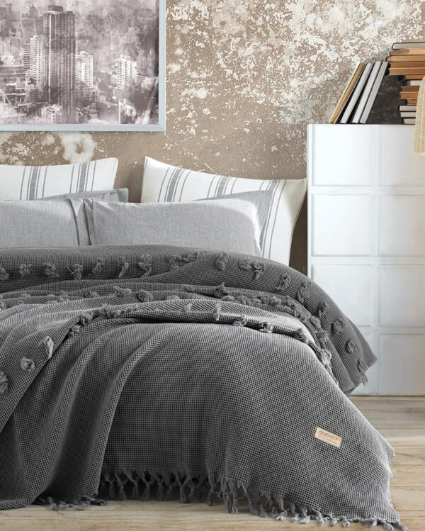 купить Покрывало Dantela vita Asya ANTRASIT Серый фото