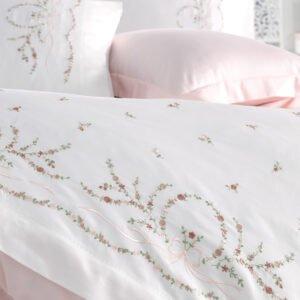купить Постельное белье сатин делюкс с вышивкой Dantela BUKET Розовый фото