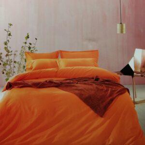 купить Постельное белье сатин люкс 40S однотонный 00001589 Оранжевый фото