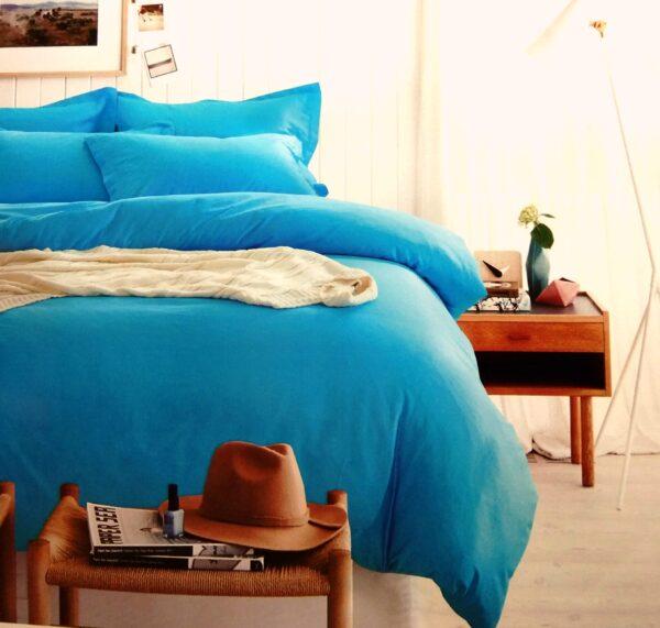 купить Постельное белье сатин люкс 40S однотонный 00001590 Голубой фото
