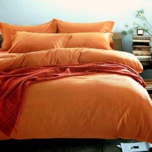 купить Постельное белье сатин люкс 40S однотонный 00001603 Оранжевый фото