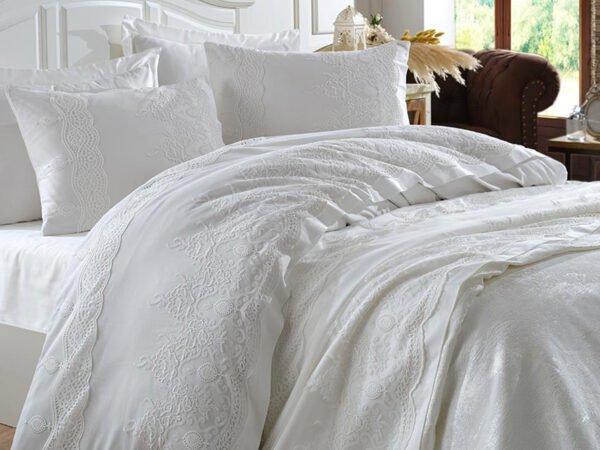 купить Постельное белье с покрывалом Dantela Vita Duru krem Белый фото