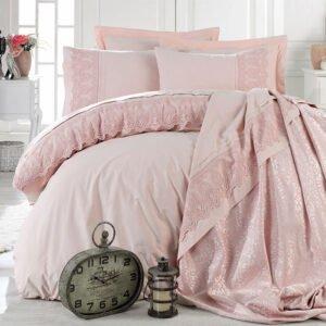 купить Постельное белье с покрывалом Dantela Vita Gizen pudra Розовый фото