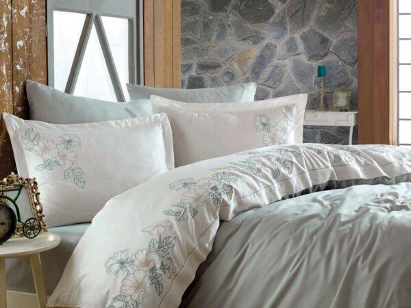 купить Постельное белье cатин делюкс с вышивкой Dantela Vita Hare maldiv Кремовый|Розовый фото