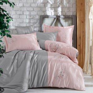 купить Постельное белье cатин делюкс с вышивкой Dantela Vita Isabella Серый|Розовый фото