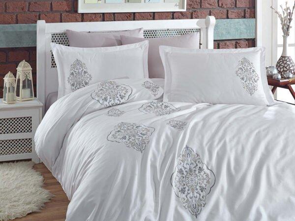купить Постельное белье cатин делюкс с вышивкой Dantela Vita OTTOMAN Beyaz - Gri Серый|Белый фото