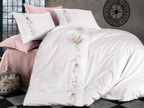 купить Постельное белье cатин делюкс с вышивкой Dantela Vita Sara Розовый фото