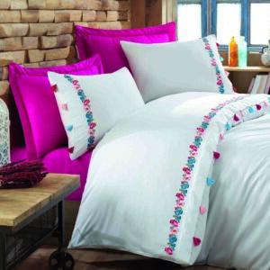 купить Постельное белье cатин делюкс с вышивкой Dantela Vita Valeria fusya Розовый фото