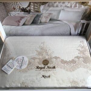 купить Постельное белье cатин делюкс с вышивкой Melisa krem Кремовый фото