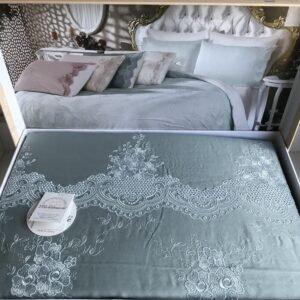 купить Постельное белье cатин делюкс с вышивкой Melisa mavi Голубой фото
