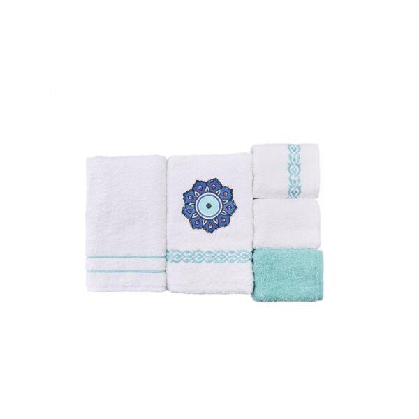купить Набор полотенец Karaca Home - Destiny turkuaz 5шт Бирюзовый фото