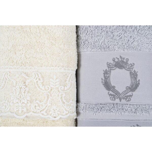 купить Набор полотенец Karaca Home - Silvio offwhite-s.yesili Кремовый|Серый фото
