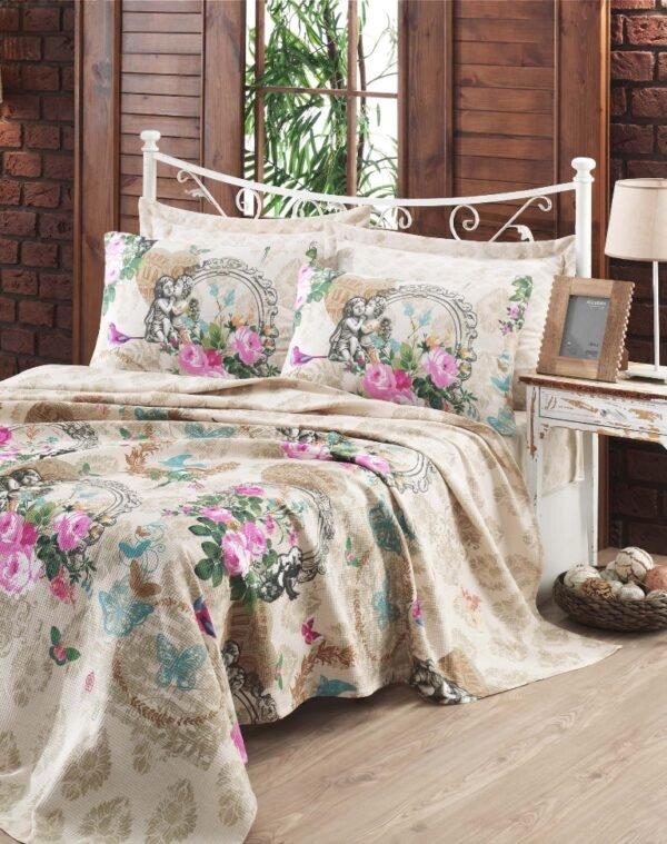 купить Покрывало пике Eponj Home - Angel bej вафельное Бежевый фото