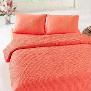 купить Покрывало пике Eponj Home - Burumcuk coral вафельное Оранжевый фото
