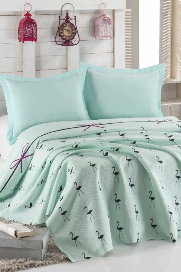 купить Покрывало пике Eponj Home - Flamingo mint вафельное Голубой фото