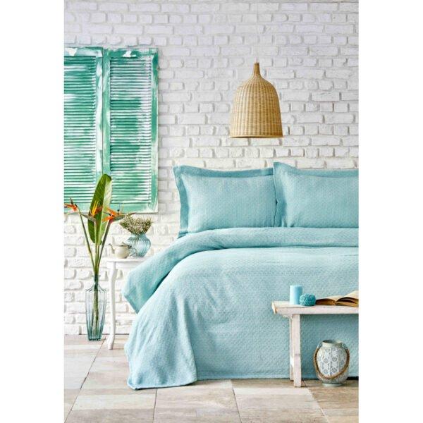 купить Покрывало с наволочками Karaca Home - Stella mint Голубой фото