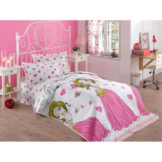 купить Покрывало стеганное с наволочкой Eponj Home - Beatiful girl beyaz Розовый фото