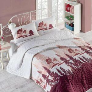 купить Покрывало стеганное с наволочкой Eponj Home - Doga bordo Бордовый фото