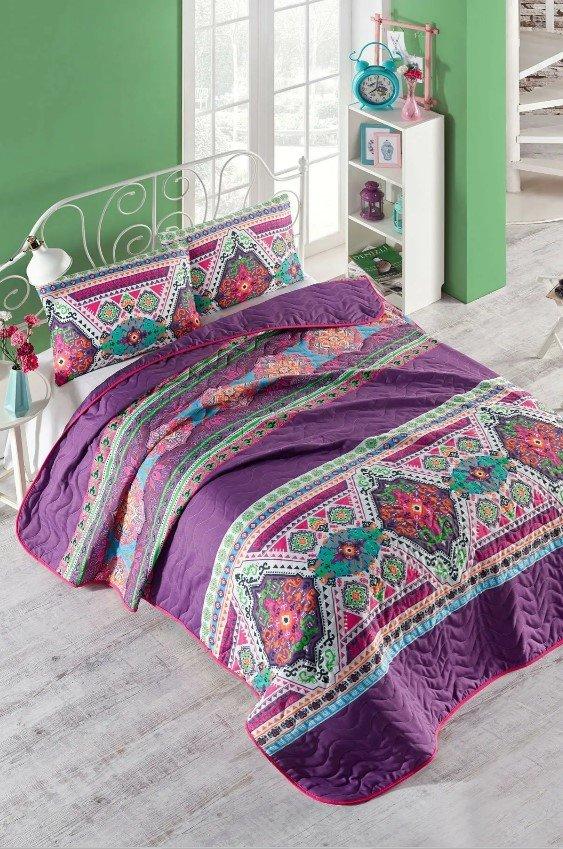 купить Покрывало стеганное с наволочкой Eponj Home - Rug fusya Фиолетовый фото