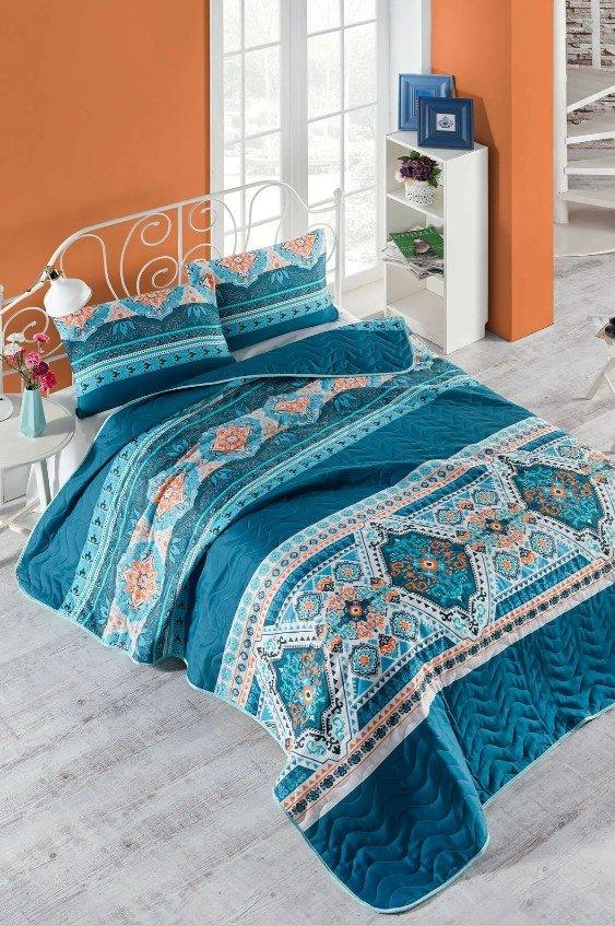 купить Покрывало стеганное с наволочкой Eponj Home - Rug yesil Голубой фото