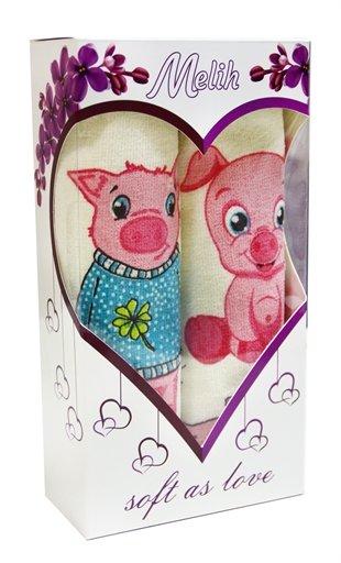 купить Набор полотенец PIGGY (2 шт.) в коробке Розовый фото 2