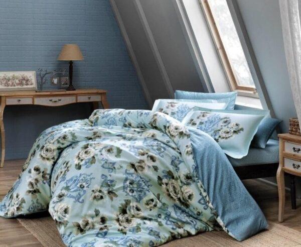 купить Постельное белье TAC сатин Digital Barock mavi v01 Голубой фото