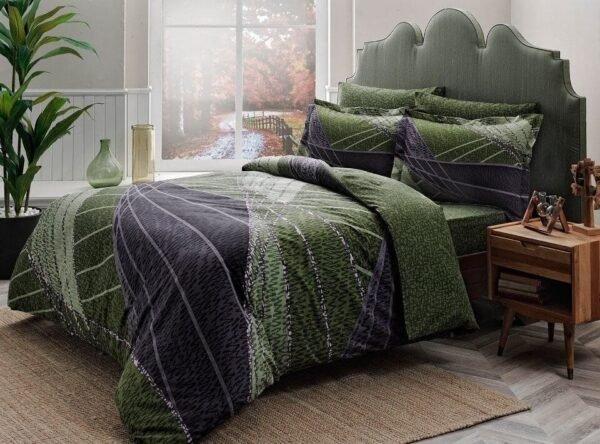 купить Постельное белье TAC сатин Delux Borneo yesil v01 Зеленый фото