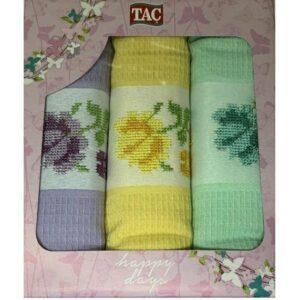 купить Набор кухонных полотенец TAC вафельный Asorti penkli (3 шт)  фото
