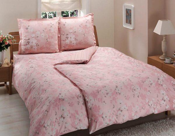 купить Постельное белье TAC сатин Delux Shadow V55 pembe Розовый фото