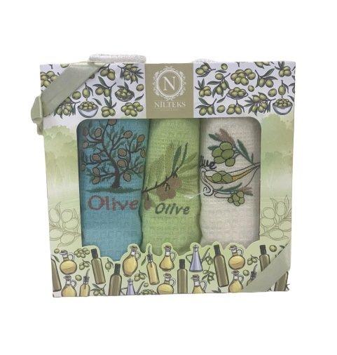 купить Набор кухонных полотенец Nilteks Lux Оливки V2 (3 шт)  фото