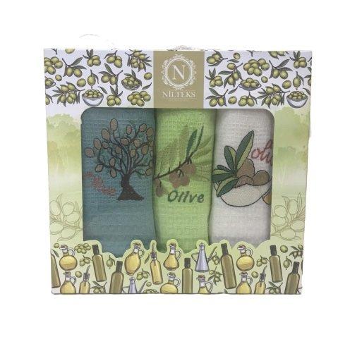 купить Набор кухонных полотенец Nilteks Lux Оливки V1 (3 шт)  фото