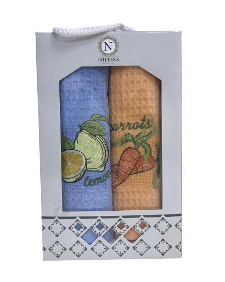 купить Набор кухонных полотенец Nilteks Lemon Carrots V01 (2 шт)  фото