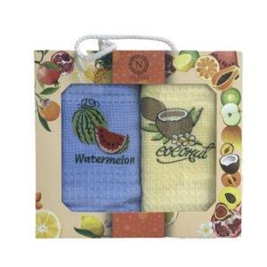 купить Набор кухонных полотенец Nilteks Фрукты V02 (2 шт)  фото