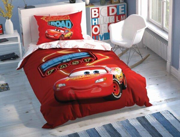 купить Подростковое постельное белье TAC Disney Cars Shiny Road Красный фото