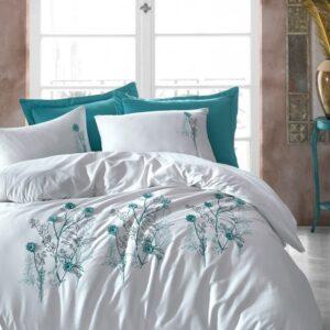 купить Постельное белье с вышивкой 3D Cotton Box Tekla Белый|Бирюзовый фото