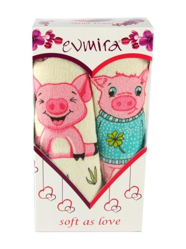 купить Набор полотенец Свинки №2 (2 шт.) в коробке Розовый фото 2